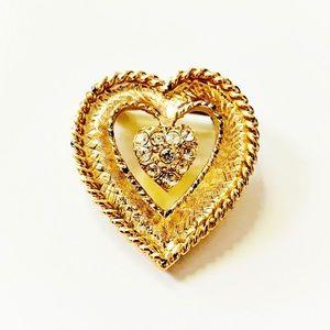 Vintage || Gold Tone Rhinestone Heart